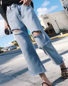 韩版街头BF破洞开叉宽松显瘦牛仔裤九分阔腿牛仔裤女