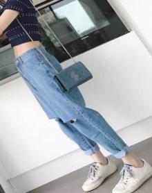 韩版学院风卷边高腰膝盖破洞裤子女宽松哈伦裤九分裤直筒牛仔裤