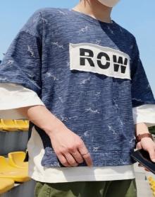 2018夏季新款短袖T恤男港风中袖五分七分袖体恤衫韩版圆领打底衫