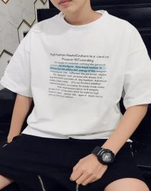 2018夏装新款港风印花宽松版字母短袖T恤男