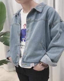 港风帅气牛仔外套男韩版学生冬装新款修身休闲夹克潮流牛仔上衣