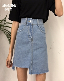 2018新款高腰不规则chic韩风裙子A字牛仔短裙