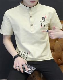 2018中国风男士立领短袖T恤休闲百搭棉麻透气舒适半袖男装上衣夏装