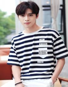 2018新款夏季男士短袖t恤 条纹圆领韩版潮流男装半袖男上衣
