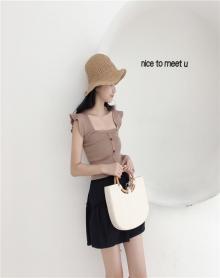 夏装新款韩版吊带上衣 纯色袖露肩修身性感小清新短款背心女