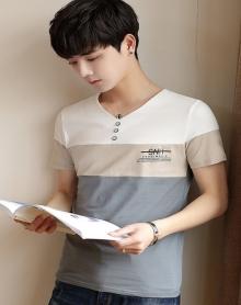 2018夏季T恤男短袖韩版v领上衣青年潮流修身个性体恤薄款男装半袖衣服