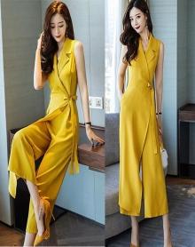 高腰连体裤女新款2018韩版修身裹式七分袖时装连体阔腿裤