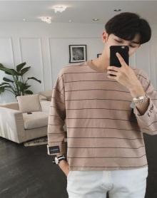 夏季七分袖男士T恤衫简约中袖蝙蝠袖韩版学生圆领短袖条纹打底衫