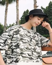 2018春夏季港风下摆抽绳迷彩T恤男宽松圆领假两件青年休闲体恤衫
