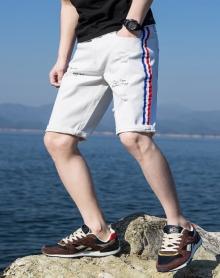 港风短裤男学生2018新款韩版破洞牛仔裤男夏季薄款刮烂五分裤潮流