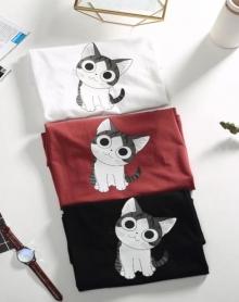 文艺男18夏季新款港风韩版休闲学生情侣潮流动物小猫脸短袖体T恤男