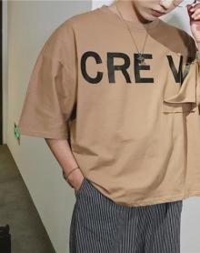 2018夏季新款男装BF风宽松街头嘻哈个性破口袋设计男士短袖T恤潮流韩版五分袖体恤衫