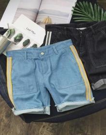 2018夏季休闲侧边装饰牛仔短裤韩版修身男士牛仔五分裤百搭