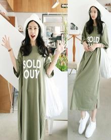 夏季纯棉字母绿色短袖T恤大码宽松过膝长款连衣裙长裙