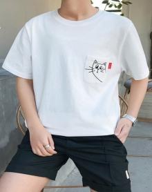2018夏原创小猫大码搞怪t恤纯棉港风男士短袖体恤衫袖体恤衫青少年潮流运动服班服港风日系