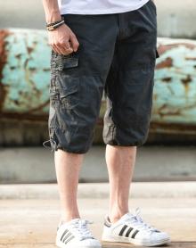 2018宽松大码男士休闲短裤松紧腰韩版男装中裤工装沙滩裤五分裤马裤