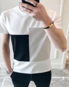 2018夏季新款青少年宽松圆领拼接短袖T恤男韩版百搭休闲体恤潮