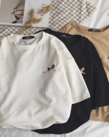 2018韩版夏季新款男士潮流小鸟刺绣宽松BF风短袖T恤