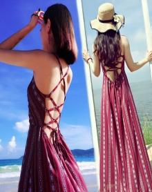 2018性感酒红美人海滩度假连衣长裙露背沙滩裙波西米亚大摆连衣裙