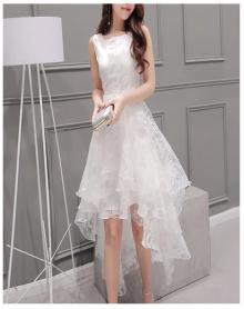 质瑞黛中袖棉麻连衣裙显瘦收腰中长款白色裙子2018春夏季新款品牌设计小香风女装