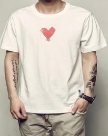 2018夏季新款男士小清新原创手绘爱心印花潮流韩版体恤青少年圆领纯棉短袖T恤衫