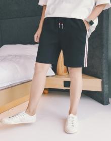 2018夏季新品休闲短裤男士青年条纹五分运动松紧松紧腰沙滩裤