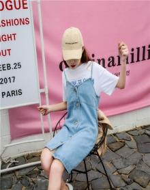 2018新款韩版中长款背带裙港味学生牛仔吊带裙显瘦裙子连衣裙女夏