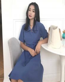 夏装2018新款韩版ulzzang气质修身显瘦V领高腰系带短袖连衣裙女潮