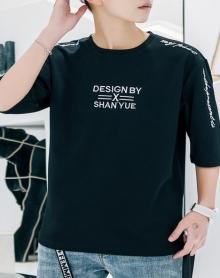 2018新款七分t恤男短袖夏季宽松韩版潮流百搭个性学生中袖体恤