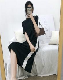 连衣裙2018春新款女中长款初恋裙复古韩版显瘦拼色气质小清新裙子