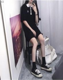 夏装polo领五分袖T恤韩国ins同款宽松BF风学生打底衫中长款连衣裙