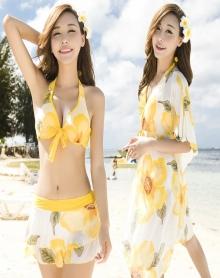 泳衣女三件套比基尼分体裙式保守遮肚显瘦小胸聚拢性感温泉游泳衣