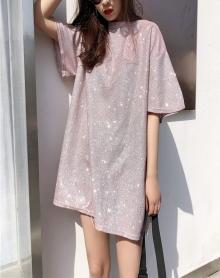 春季新款女装韩国chic个性闪闪反光宽松圆领短袖T恤女中长款上衣