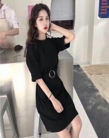 春夏女装韩版中长款宽松百搭收腰纯色短袖T恤连衣裙学生显瘦长裙