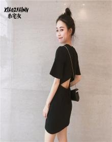 复古小心机上衣初恋连衣裙女春夏装2018新款流行女装韩版小黑短裙
