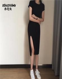 短袖T恤裙显瘦修身心机开叉小黑裙韩版chic初恋裙复古连衣裙子夏