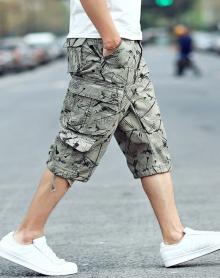 2018夏季男士七分裤沙滩裤大码宽松男生短裤工装马裤韩版男装休闲裤