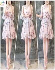 防晒款碎花雪纺连衣裙女夏新款修身显瘦气质喇叭袖裙子
