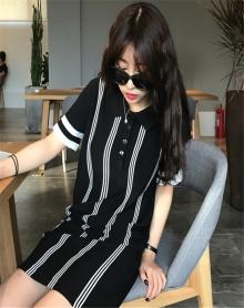 2018新款韩版素色条纹polo领中长款短袖连衣裙夏港味复古chic裙子