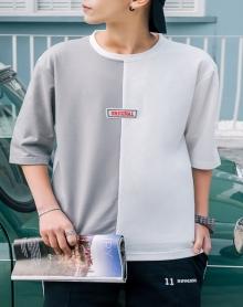 2018新款夏季男士短袖T恤潮流圆领衣服韩版夏装五分七分袖体恤男 价格: