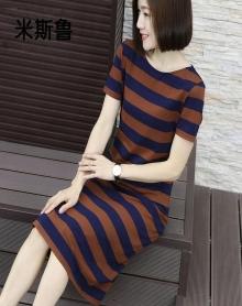 2018新季女长裙夏装短袖条纹圆领连衣裙长款宽松打底