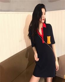 春夏装2018新款女装韩版中长款撞色POLO领针织连衣裙冰丝短袖上衣