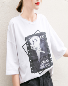 2018新款春夏装白色体短袖宽松t恤女打底衫印花圆领字母百搭上衣