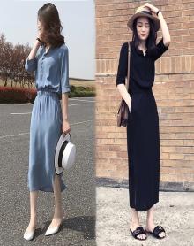 2018春装新款女装韩版黑色开叉长裙气质收腰显瘦连衣裙女