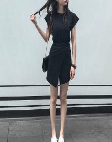 95%棉Chic韩版不规则短袖T恤女学生连衣裙纯色套头休闲百搭短裙