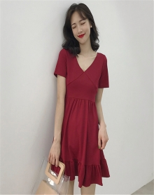 夏装2018新款港味复古温柔裙超仙收腰短袖冷淡风连衣裙极简显瘦潮