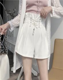 夏季2018新款韩国chic风百搭气质收腰系带高腰显瘦休闲雪纺短裤女