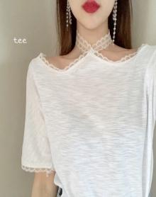 2018网红同款上衣夏装新款韩版气质蕾丝拼接百搭竹节棉短袖T恤女