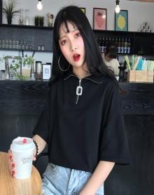 酷酷的女装帅气半拉链上衣社会ins夏季网红同款半截袖樱田川岛t恤