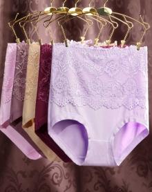 【5条5色装】大码女高腰蕾丝内裤提臀高品质美体纯色胖mm内裤